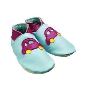 Daisy Roots Baby Shoes: Pale Blue with Car Motif (Size=M:6 12M): Baby