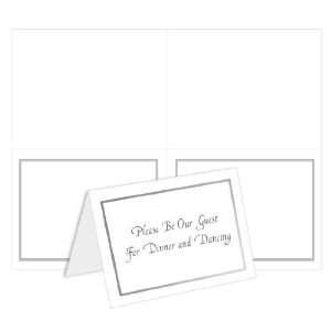2 Up Printable Note Card Bulk   Foil Border   White Silver