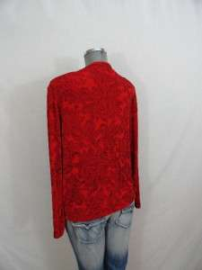 TRAVELERS red w/ black paisley print shell jacket twinset 2 L 12