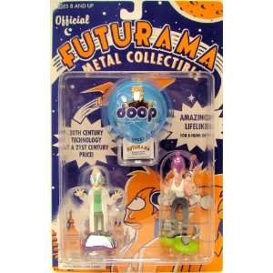 Futurama Collectible Metal Figure Set Professor Farnsworth & Leela