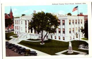 Old ASHLAND Ohio Postcard COUNTY COURT HOUSE Cars Monum