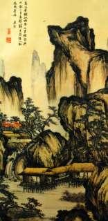 SCROLL SILK GOLDEN LANDSCAPE Asian Oriental Home Decor