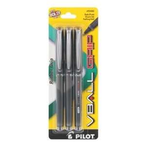 Pilot V Ball Grip Rollerball Pen, Black Ink, Bold Point, 3