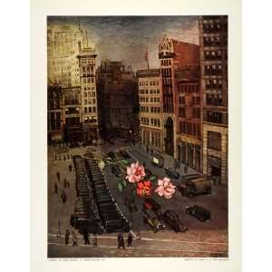 1939 Print Union Square Roses Kantor New York City