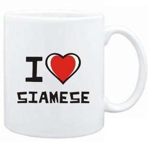 Mug White I love Siamese  Cats