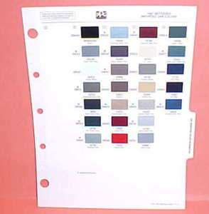 1987 MERCEDES PAINT CHIPS COLOR CHART GUIDE BOOK 87