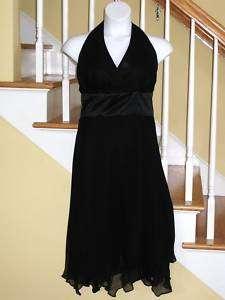 NWT Donna Ricco Dress Silk Halter Black Asymmetric Hem