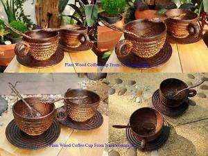 Set 2 Handmade Thai Art Wooden/Wood Coffee Tea Cup Gift