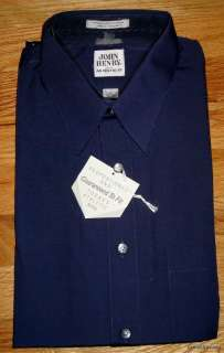 NWT JOHN HENRY LS NAVY DRESS SHIRT, ATHLETIC 15   32/33