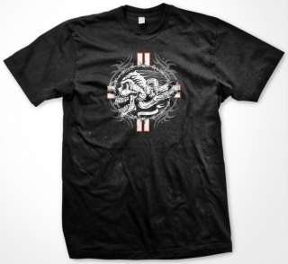 Headdress Barbed Wire Tribal Tattoo Design Death Mens T Shirt