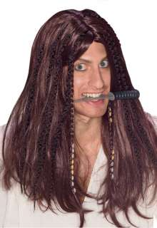 new mens adult long brown pirate wig halloween costume pirates