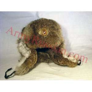 Military NATURAL Fur Trapper Ear Flaps Hat (57 58 M) Toys & Games
