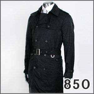 JEJE SLIM FIT Black Mens Trench Coat Jacket S US 37