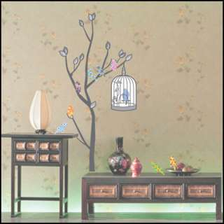 Tree & Bird Adhesive WALL Mural STICKER Removable Decal