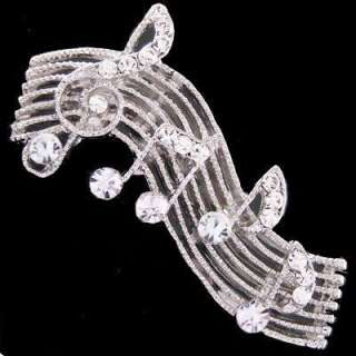 P117B Music Note Music Sheet Treble Clef Clear Crystal Best Gift Pin