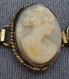 ANTIQUE 1800s VICTORIAN CARVED SHELL 5 CAMEO BRACELET~GOLD FILLIGREE