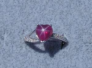 LINDE LINDY TRAN STAR RUBY CREATED SAPPHIRE RED SS RING