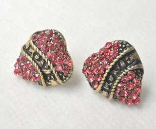 New Betsey Johnson LOVE HEART Rhinestone Stud Earrings