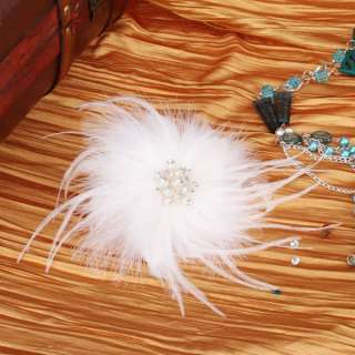 feather flower shape bridal headdress flower w man made pearl