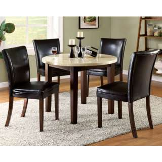 Raven 5 Piece Faux Marble Top Dining Table Set