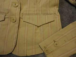 NWT Tommy Hilfiger Khaki Pink White Pinstripe Stretch Blazer Jacket sz