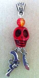 BANDIDOS MC COLOR THEMED SKULL & PISTOL OR MACHETE PENDANT   OUTLAW