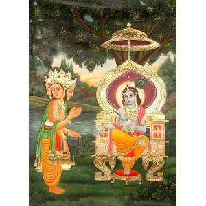 the Shrimad Bhagavata Purana)   Oil on Canvas with: Home & Kitchen