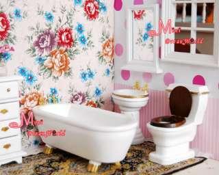 12 Dollhouse Miniature White Bathroom Toilet Mirror Set 4PCS