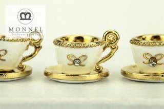H623 Cute White Cup of Tea 3D Charm Pendant (3 pcs)