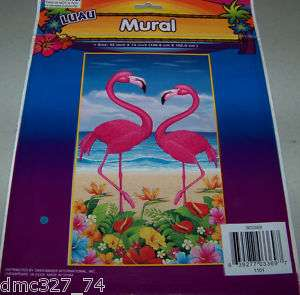 LUAU Beach Tiki Party Decor FLAMINGO WALL DOOR MURAL