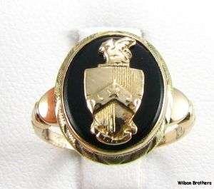BETA THETA PI RING   10k Yellow Gold Onyx Vintage fraternity Greek