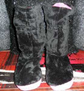 Johnson BLACK FAUX FUR Pom BEDDY BYE Fold Down BOOT SLIPPERS Shoes S
