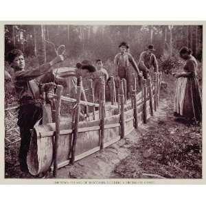 Building Birch Bark Canoe WI   Original Duotone Print