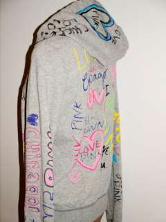 with Tag Victorias Secret PINK Graffiti PINK LOVE CHICAGO Zip Hoodie