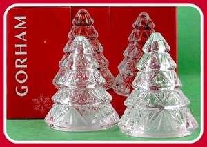 Gorham Crystal Christmas Tree Holiday Salt & Pepper Shaker Set