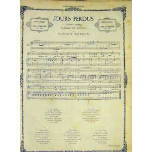 Song Music Score Nadaud Jours Perdus French Print 1868