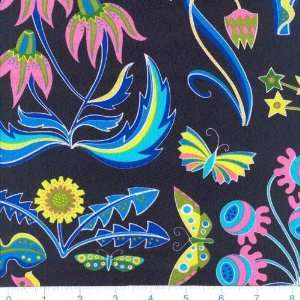 Pop Art Floral & Butterflies Black Fabric By The Yard Arts, Crafts