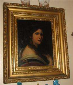 ANTIQUE Italian Renaissance Girl Portrait Oil Painting.