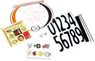 MONGOOSE BMX NUMBER PLATE RACING BIKE STICKERS KID PAD