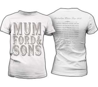 Mumford & Sons T Shirt Scroll Juniors White X Large