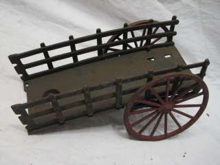 EARLY CAST IRON HORSE DRAWN WAGON TOY BUCK BOARD