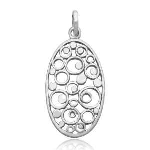 925 Sterling Silver Bubble Circles Charm Pendant Jewelry