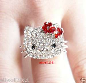 Kitty Crystal Bling Ring Adjustable In Gift Ring Box Red BOW