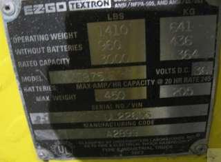 1999 EZ GO Textron Industrial 875E XI875 Electric Utility Vehicle Golf