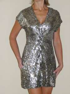 VALENTINO Twist Detail Silver Sequined Tunic Dress 8