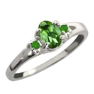 Ct Green Oval Tourmaline and Green Topaz Sterling Silver Ring Jewelry