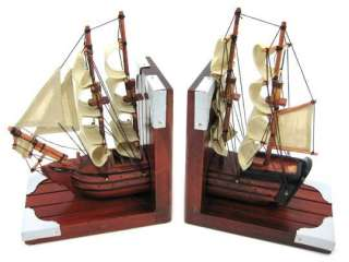 Pair Of Wooden Nautical Tall Ship Bookends Book Ends
