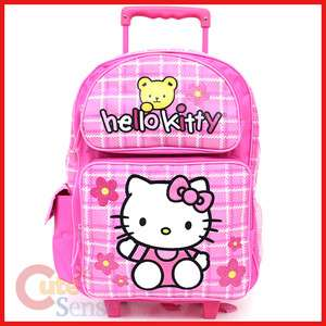 Kitty Large Rolling Backpack School Roller Bag Teddy Bear Trolley