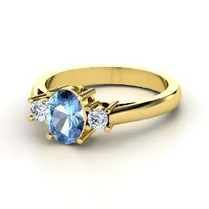 Ashley Ring, Oval Blue Topaz 14K Yellow Gold Ring with