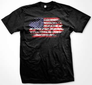 Faded American Flag Mens T shirt American Pride Tattered USA Flag